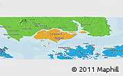 Political Shades Panoramic Map of Singapore