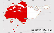 Flag Simple Map of Singapore, flag rotated