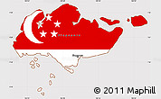 Flag Simple Map of Singapore
