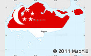 Flag Simple Map of Singapore, single color outside