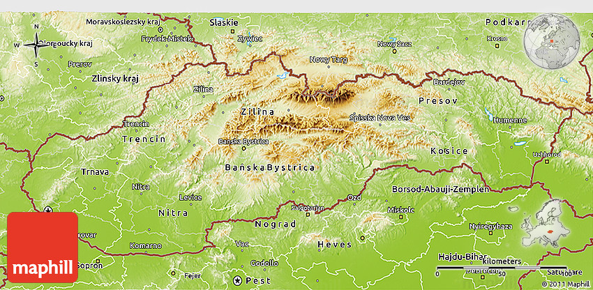 Physical 3D Map of Slovakia