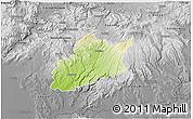 Physical 3D Map of Krupina, desaturated