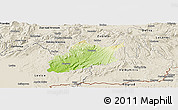 Physical Panoramic Map of Krupina, shaded relief outside