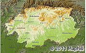 Physical Map of Banska Bystrica, darken
