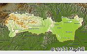 Physical Map of Kosice, darken