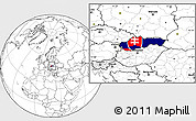 Flag Location Map of Slovakia, blank outside