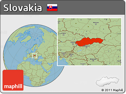 Savanna Style Location Map of Slovakia
