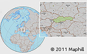 Savanna Style Location Map of Slovakia, gray outside