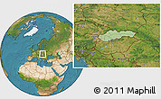 Savanna Style Location Map of Slovakia, satellite outside