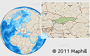 Savanna Style Location Map of Slovakia, shaded relief outside