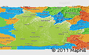 Physical Panoramic Map of Nitra, political outside