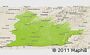 Physical Panoramic Map of Nitra, shaded relief outside