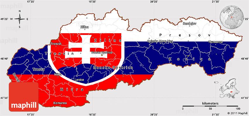 Flag Simple Map of Slovakia
