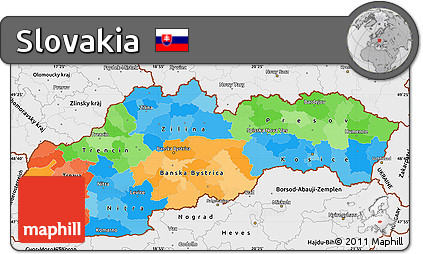 Free Political Simple Map of Slovakia single color outside borders