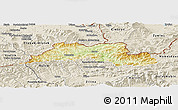 Physical Panoramic Map of Cadca, shaded relief outside