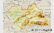 Physical Map of Zilina, shaded relief outside