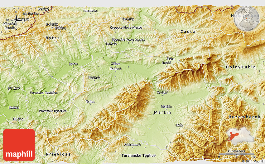 Physical 3D Map of Zilina on