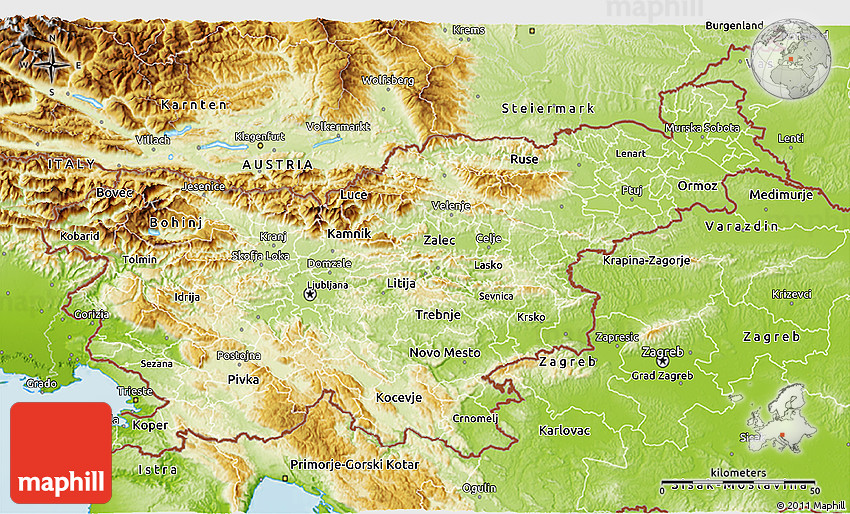 Physical 3D Map of Slovenia