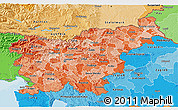 Political Shades 3D Map of Slovenia