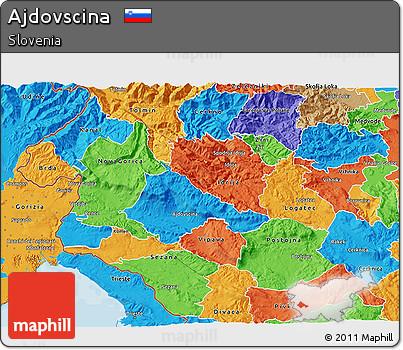 Political 3D Map of Ajdovscina