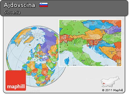 Political Location Map of Ajdovscina