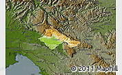 Physical Map of Ajdovscina, darken
