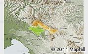 Physical Map of Ajdovscina, semi-desaturated