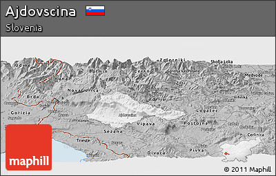 Gray Panoramic Map of Ajdovscina