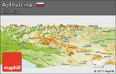 Physical Panoramic Map of Ajdovscina