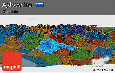 Political Panoramic Map of Ajdovscina, darken