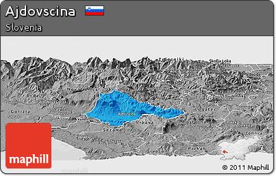 Political Panoramic Map of Ajdovscina, desaturated