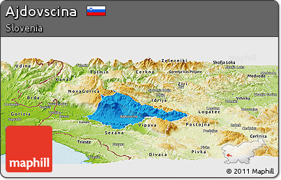 Political Panoramic Map of Ajdovscina, physical outside