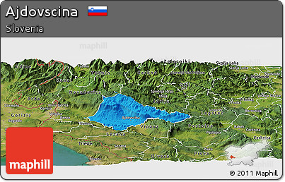 Political Panoramic Map of Ajdovscina, satellite outside