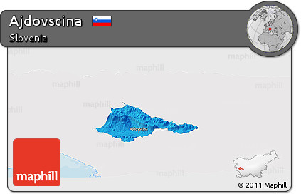 Political Panoramic Map of Ajdovscina, single color outside