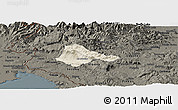 Shaded Relief Panoramic Map of Ajdovscina, darken