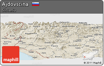 Shaded Relief Panoramic Map of Ajdovscina