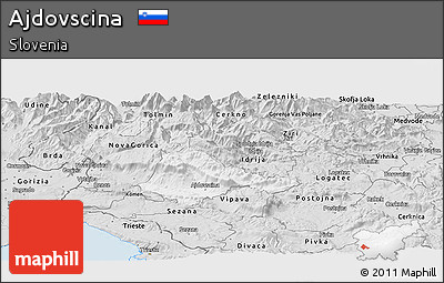 Silver Style Panoramic Map of Ajdovscina