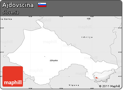 Silver Style Simple Map of Ajdovscina