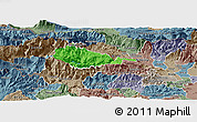 Political Panoramic Map of Bohinj, semi-desaturated