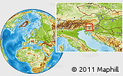 Physical Location Map of Cerklje na Gorenjskem