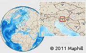 Shaded Relief Location Map of Cerklje na Gorenjskem