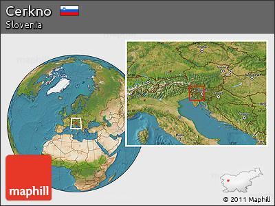 Satellite Location Map of Cerkno