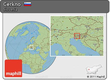 Savanna Style Location Map of Cerkno