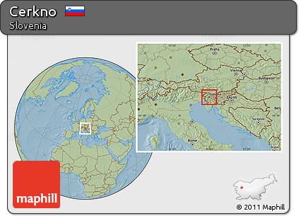 Savanna Style Location Map of Cerkno, hill shading