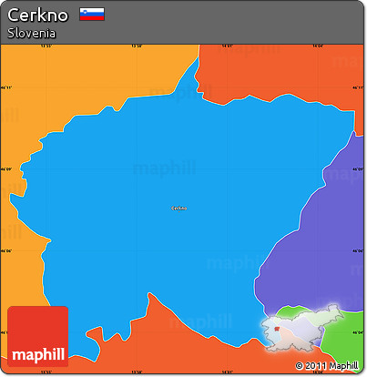 Political Simple Map of Cerkno