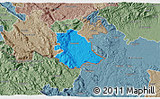 Political 3D Map of Crnomelj, semi-desaturated