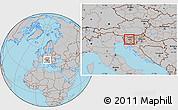 Gray Location Map of Dobrova-Horjul-Polhov Gradec
