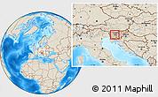 Shaded Relief Location Map of Dobrova-Horjul-Polhov Gradec