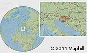 Savanna Style Location Map of Grosuplje, hill shading