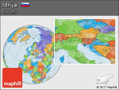 Political Location Map of Idrija